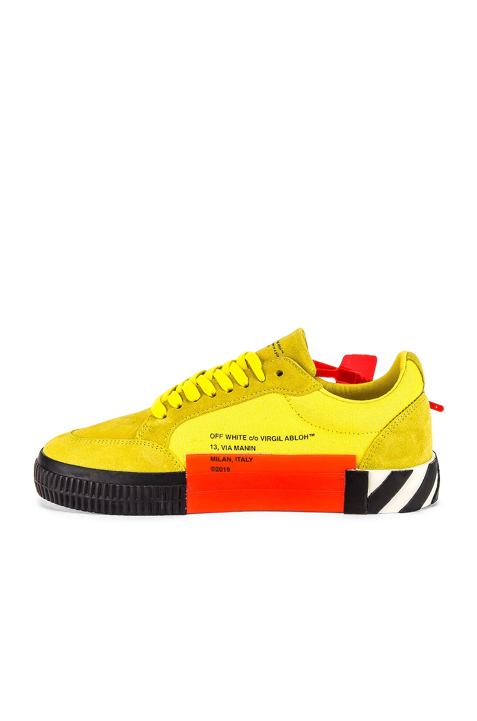 Image 5 of OFF-WHITE Low Vulcanized Sneaker in Yellow & Black