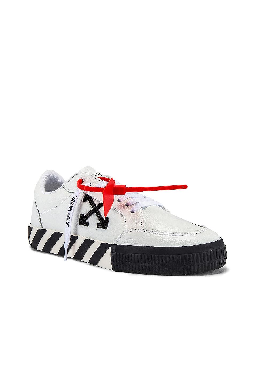 Image 1 of OFF-WHITE Low Vulcanized Sneaker in White & Black