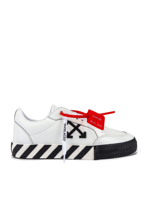 Image 2 of OFF-WHITE Low Vulcanized Sneaker in White & Black