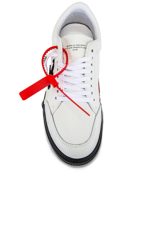 Image 4 of OFF-WHITE Low Vulcanized Sneaker in White & Black