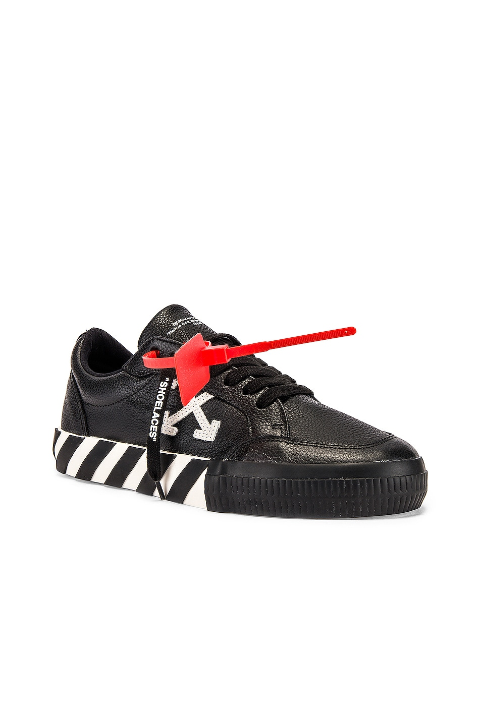 Image 1 of OFF-WHITE Low Vulcanized Sneaker in Black & White