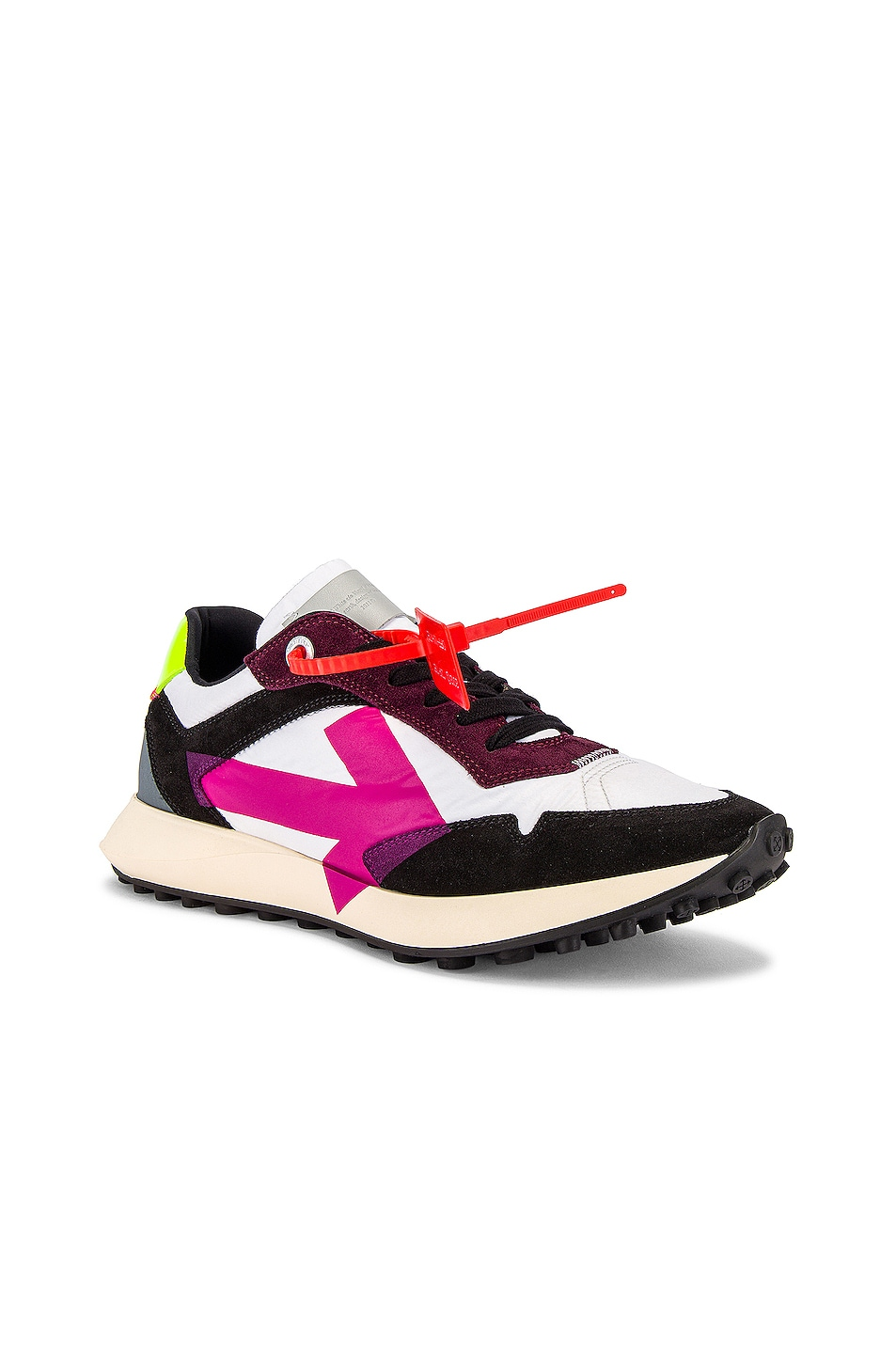 Image 1 of OFF-WHITE Arrow Sneakers in White & Fuchsia
