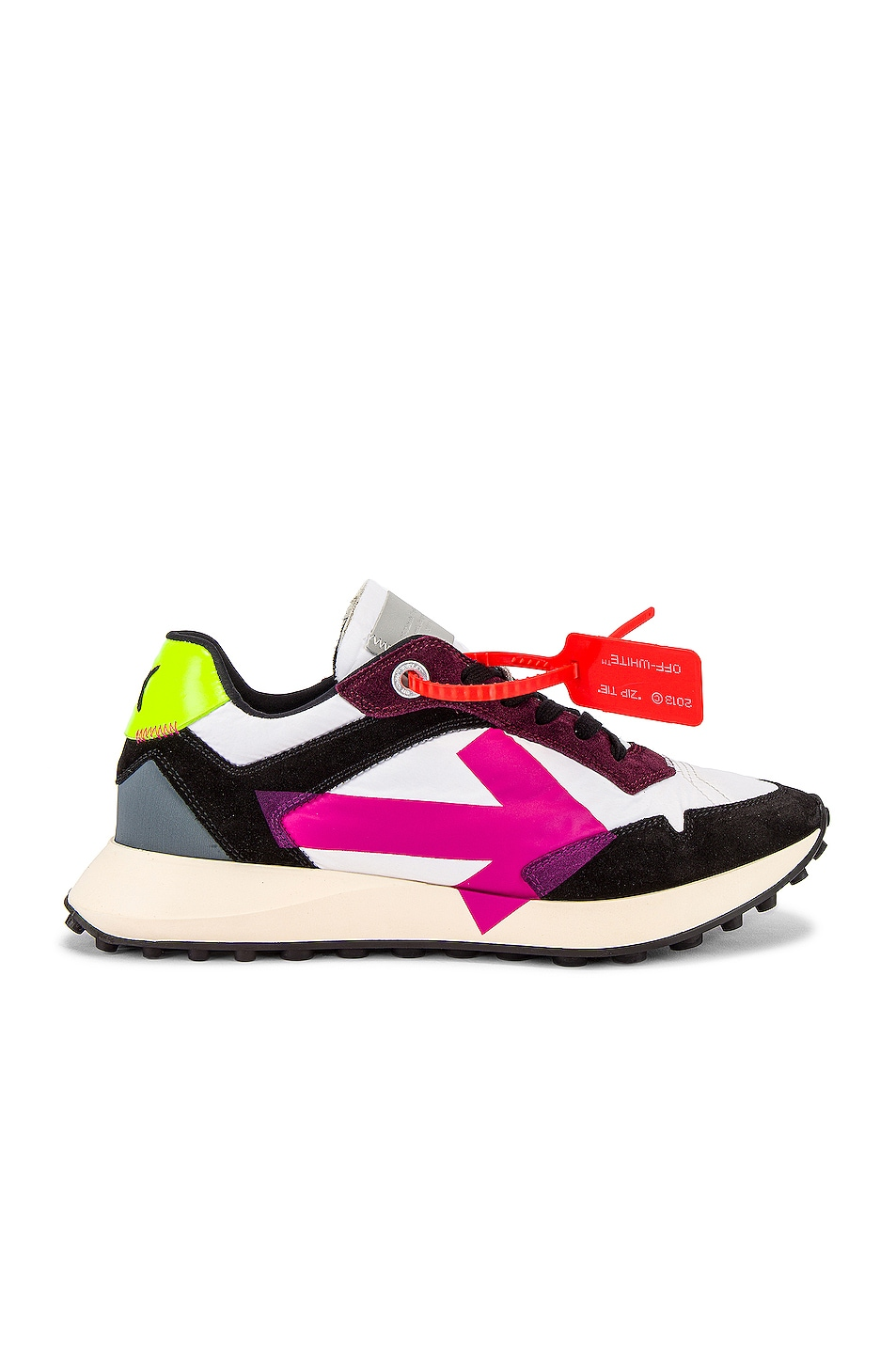 Image 2 of OFF-WHITE Arrow Sneakers in White & Fuchsia