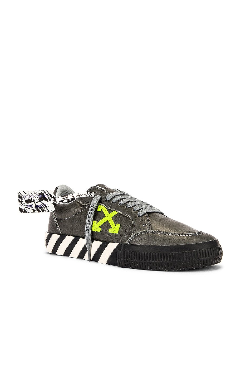 Image 1 of OFF-WHITE Low Vulcanized Sustainable Sneaker in Leather Grey & Green