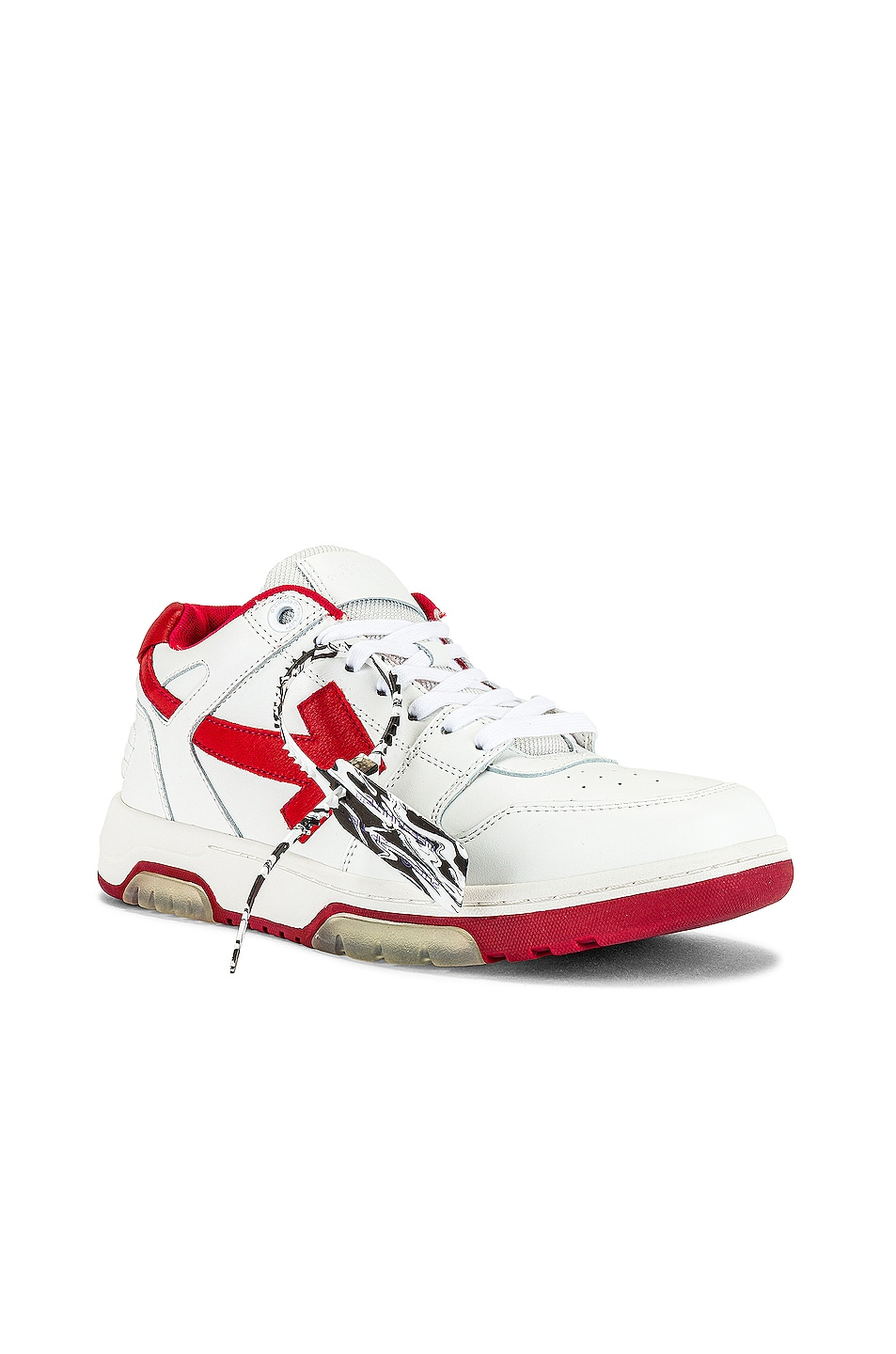 Image 1 of OFF-WHITE Out Of Office Sneaker in White & Red