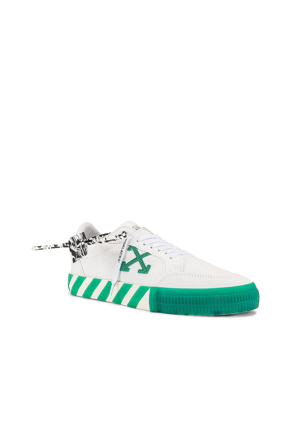 Image 1 of OFF-WHITE Low Vulcanized Canvas Sneaker in White & Green