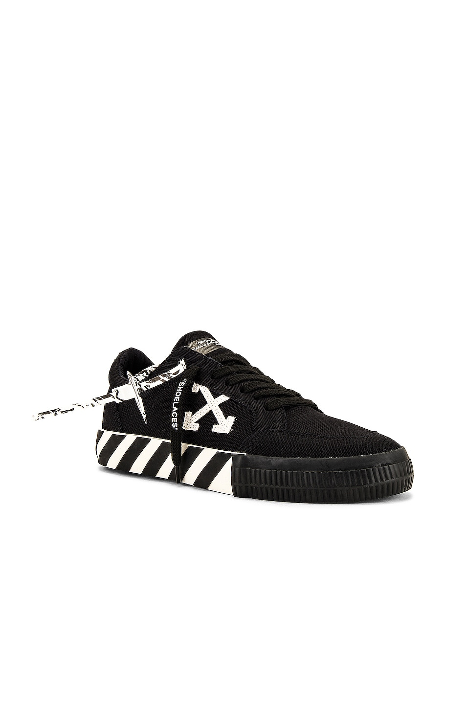 Image 1 of OFF-WHITE Low Vulcanized Canvas Sneaker in Black & White