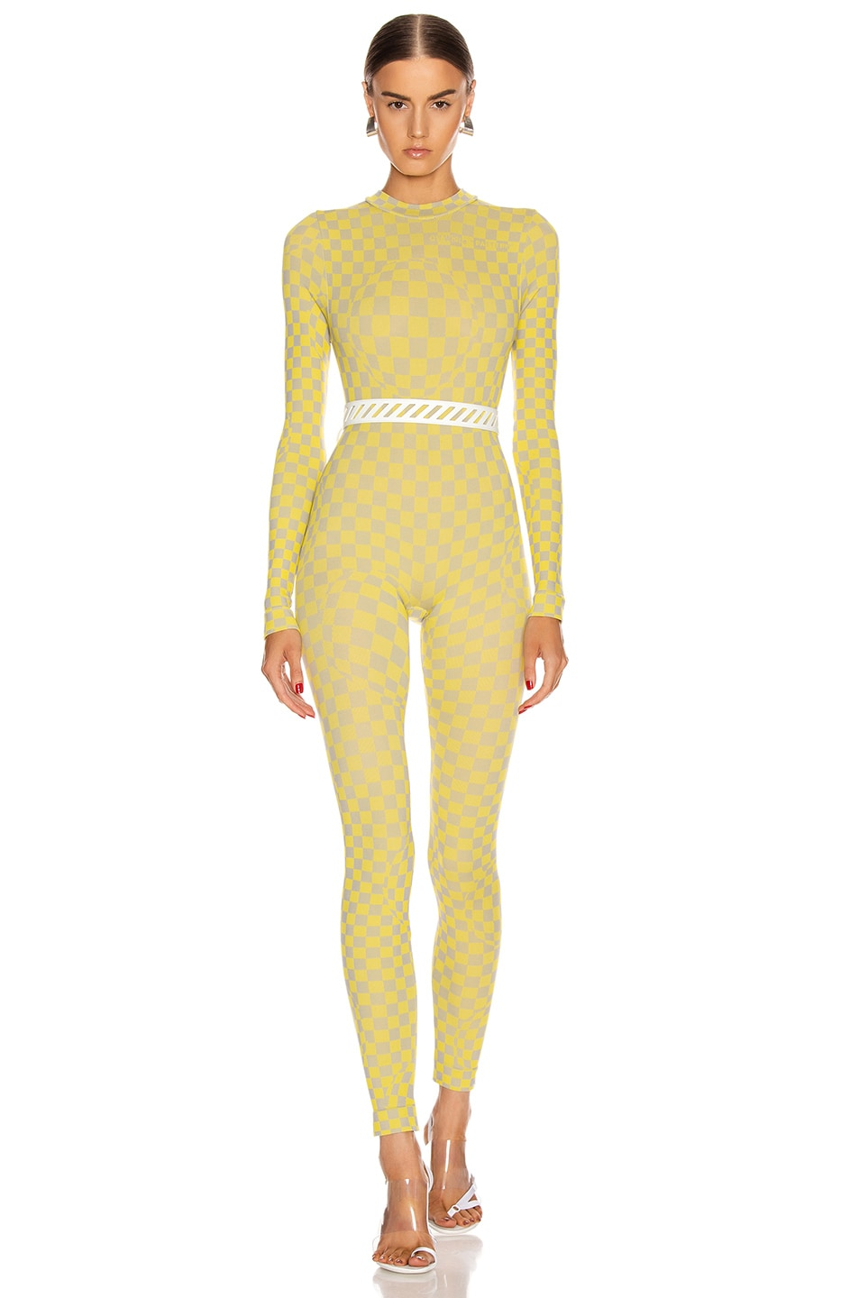 Image 1 of OFF-WHITE Bubble Check Jumpsuit in Yellow