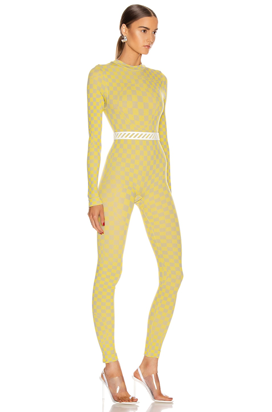 Image 2 of OFF-WHITE Bubble Check Jumpsuit in Yellow