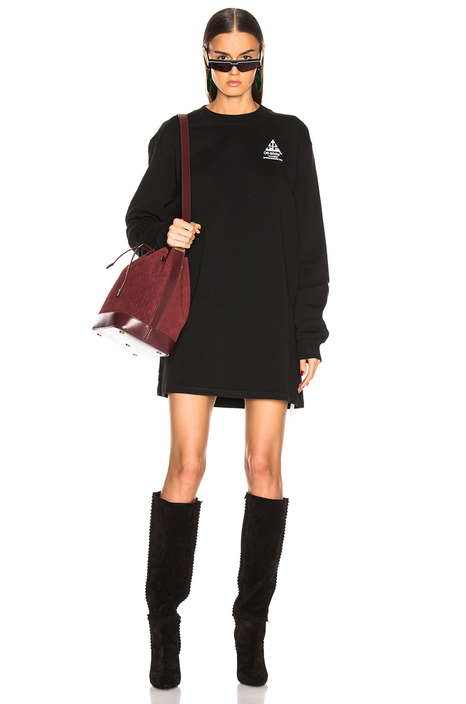 Image 1 of OFF-WHITE Crewneck Sweater Dress in Black
