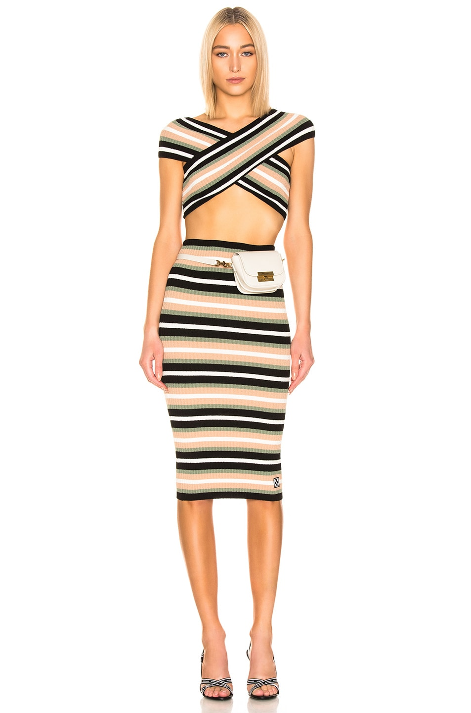 Image 1 of OFF-WHITE Criss Cross Knit Dress in Multi