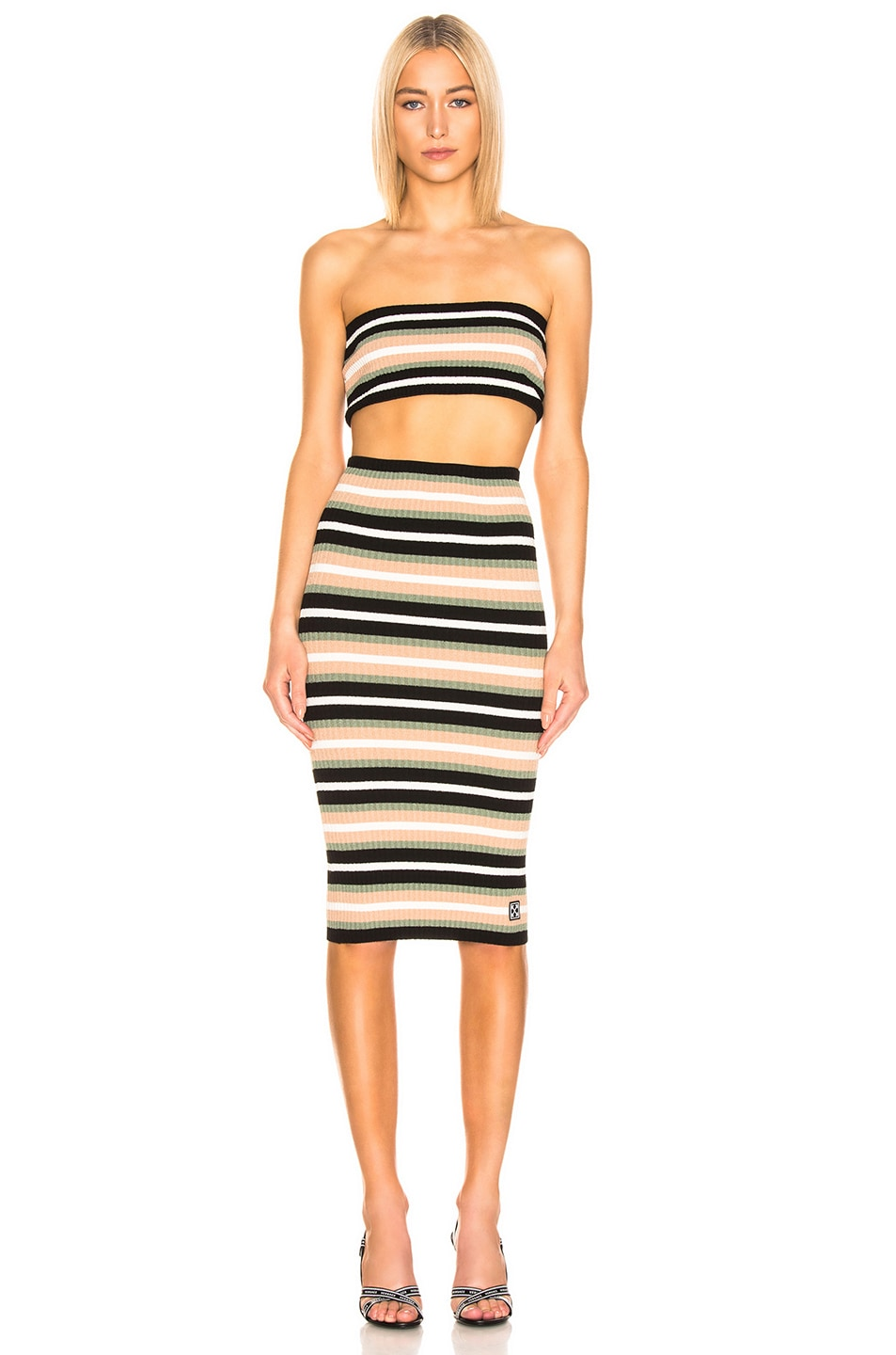 Image 2 of OFF-WHITE Criss Cross Knit Dress in Multi