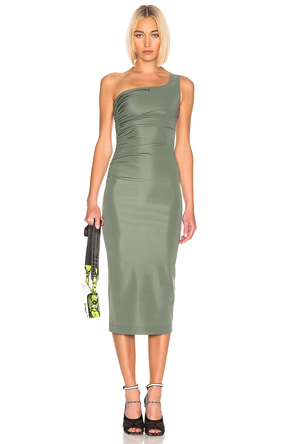 Image 1 of OFF-WHITE One Shoulder Dress in Military Green