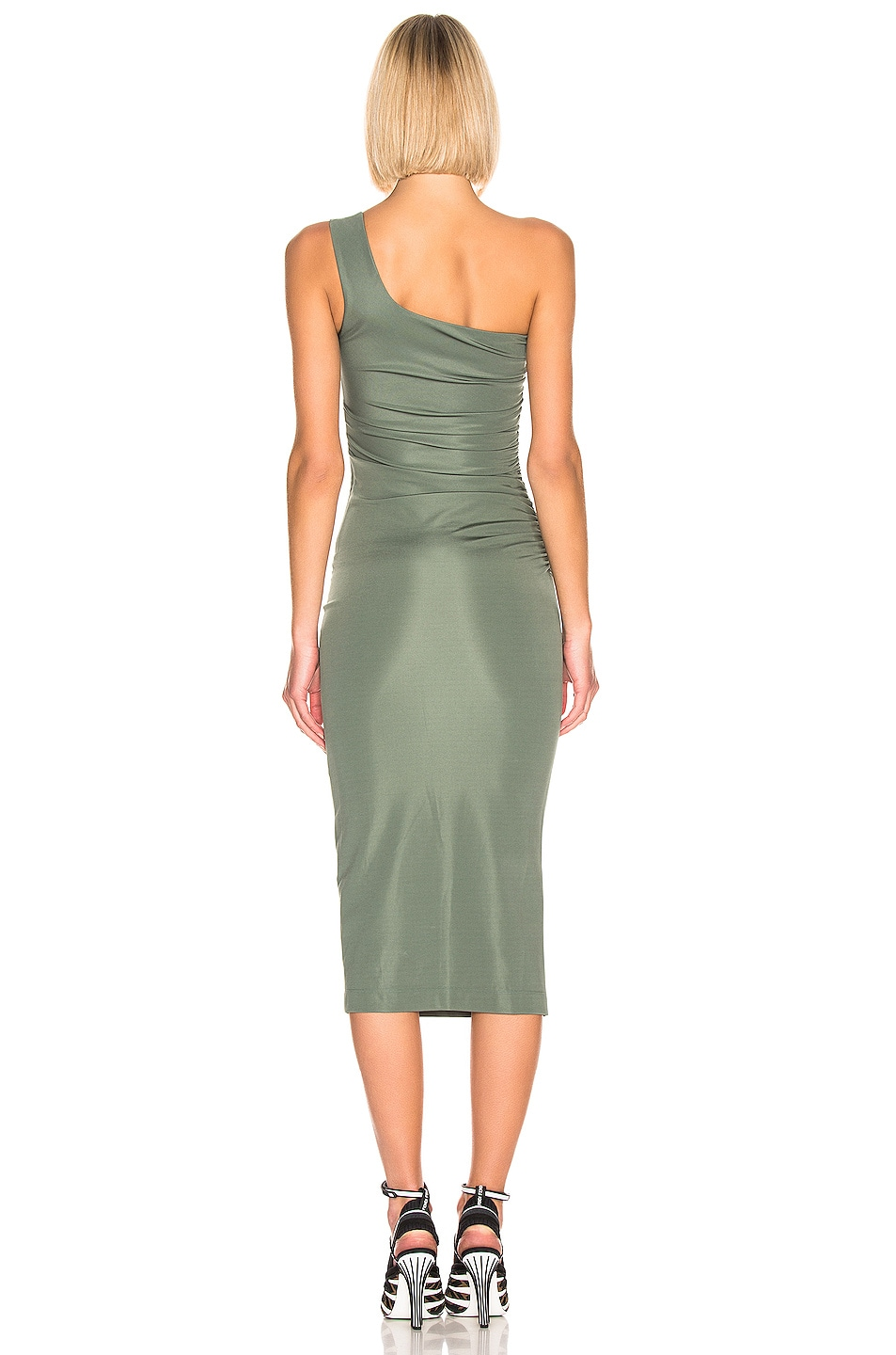 Image 3 of OFF-WHITE One Shoulder Dress in Military Green