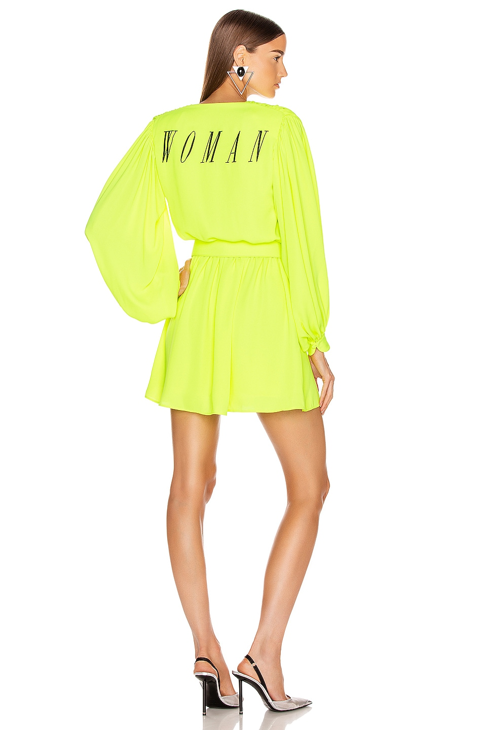 Image 1 of OFF-WHITE 80's Mini Dress in Fluo Yellow & Black