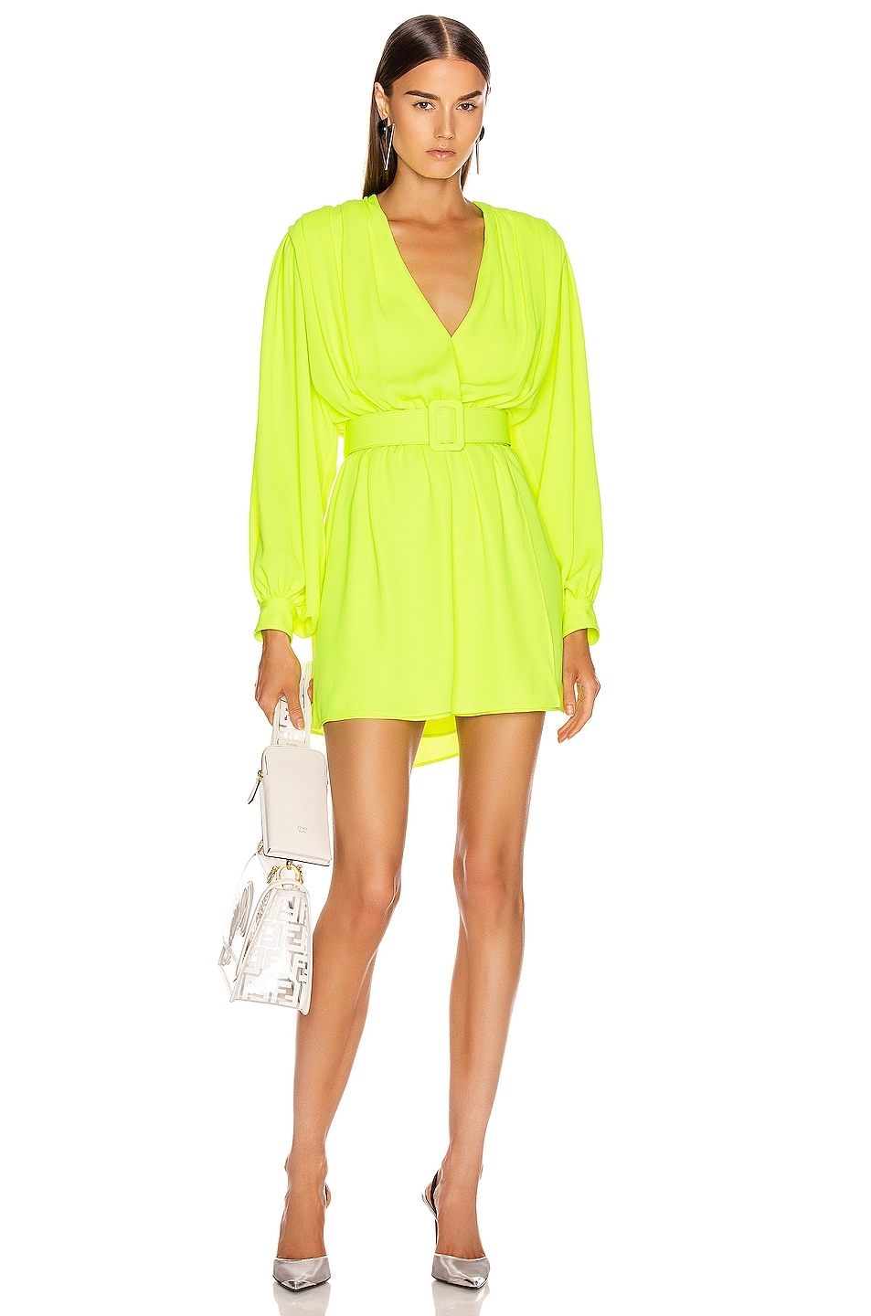 Image 2 of OFF-WHITE 80's Mini Dress in Fluo Yellow & Black