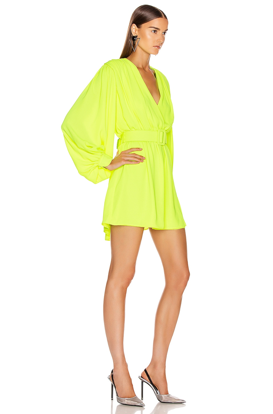 Image 3 of OFF-WHITE 80's Mini Dress in Fluo Yellow & Black