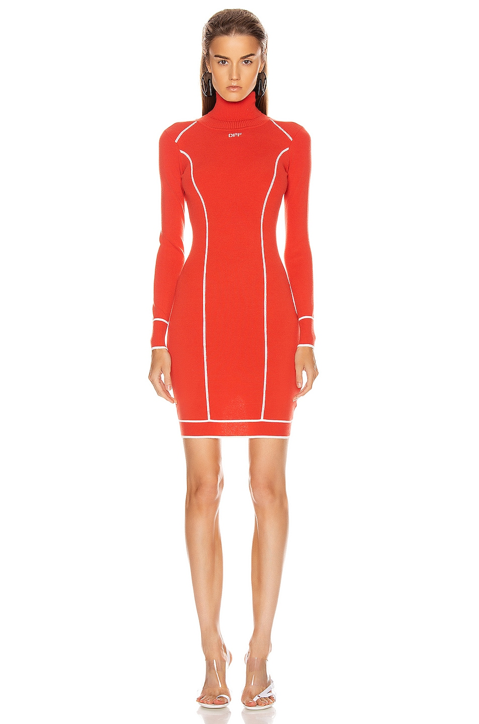 Image 1 of OFF-WHITE Knit Athletic Turtleneck Dress in Red & White