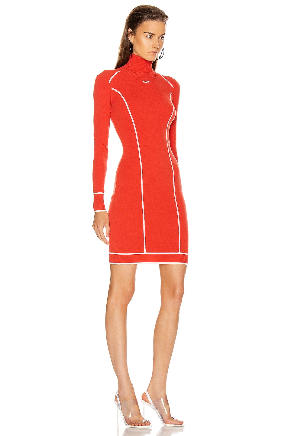 Image 2 of OFF-WHITE Knit Athletic Turtleneck Dress in Red & White