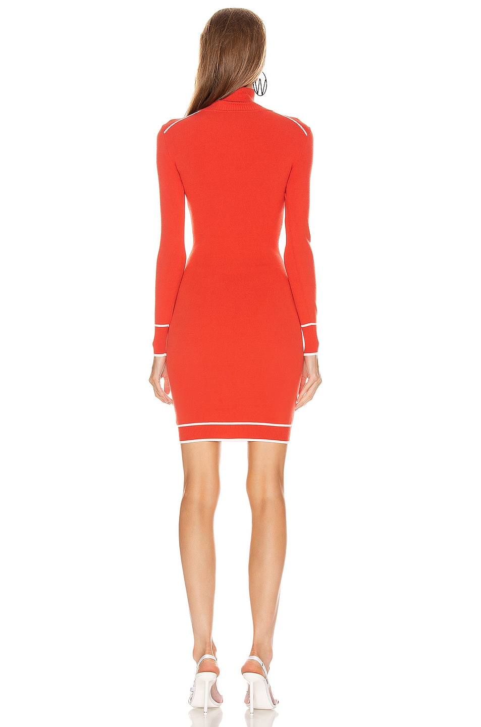 Image 3 of OFF-WHITE Knit Athletic Turtleneck Dress in Red & White
