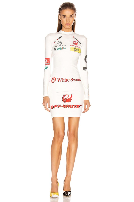 Image 1 of OFF-WHITE Multi Logo Sporty Dress in White Multicolor