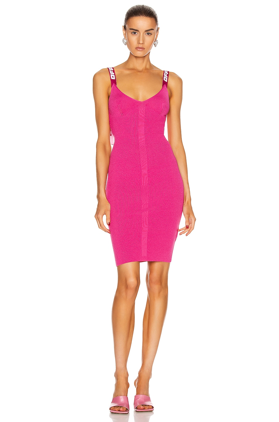 Image 1 of OFF-WHITE Knit Industrial Long Dress in Fuchsia