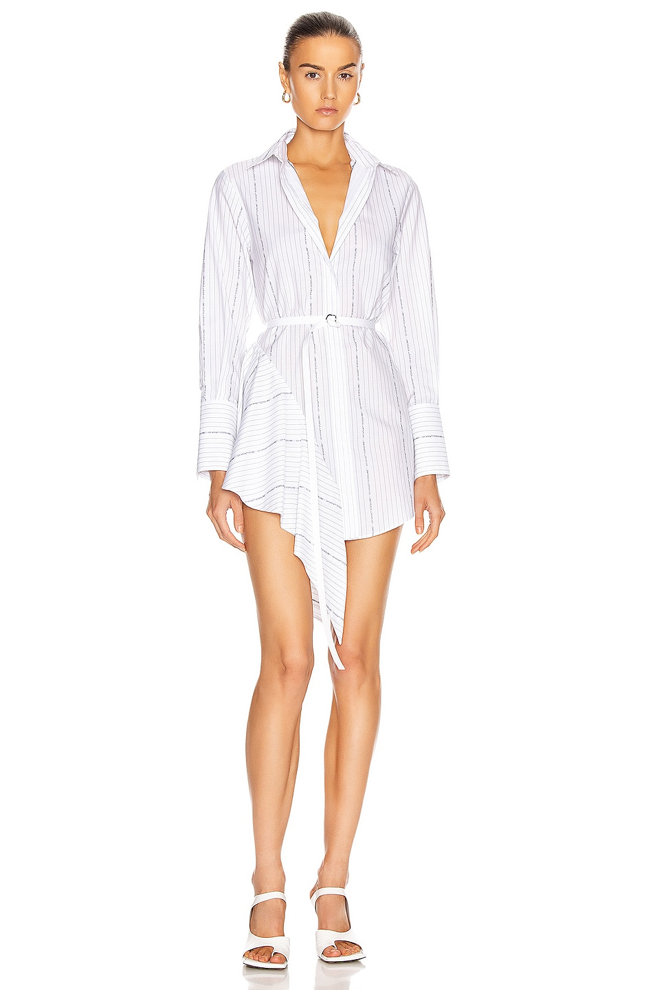 Image 1 of OFF-WHITE Popeline Asymmetrical Dress in White