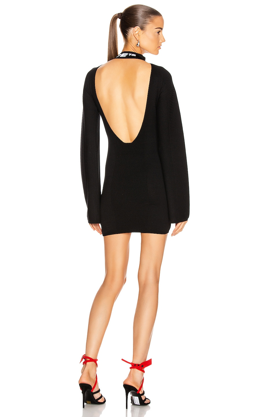 Image 1 of OFF-WHITE Knit Industrial Mini Dress in Black