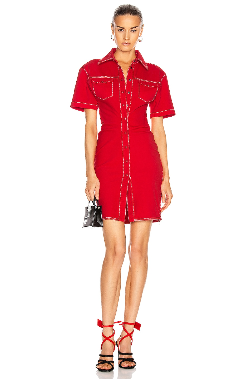 Image 1 of OFF-WHITE Denim Dress in Red
