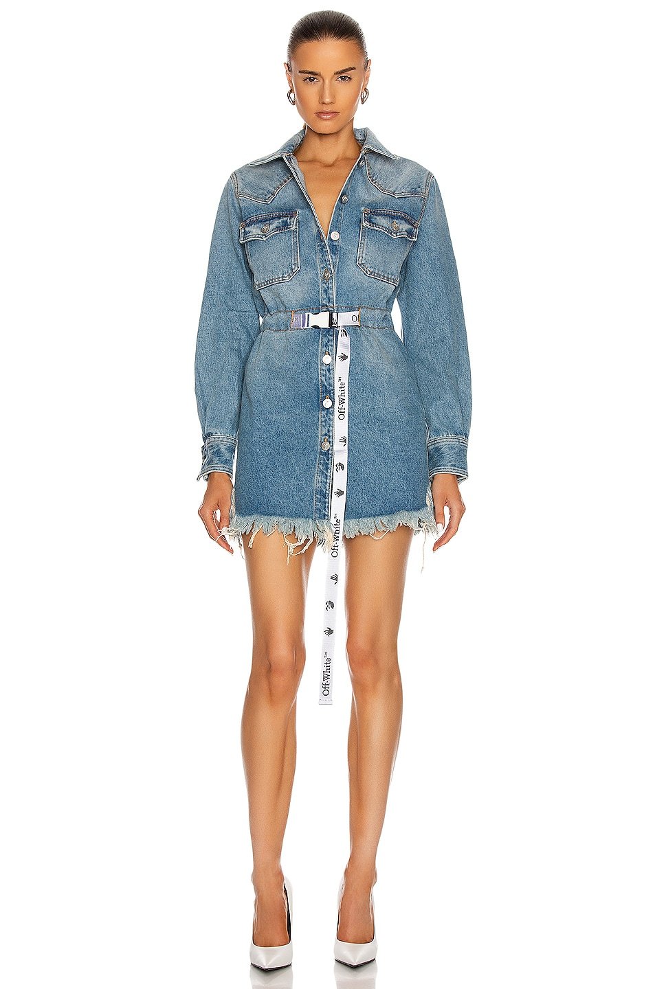 Image 1 of OFF-WHITE Boxy Dress in Light Blue & White