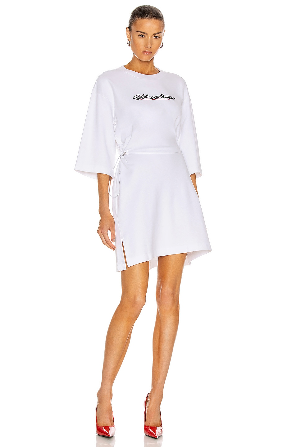 Image 1 of OFF-WHITE Script Logo Coulisse Dress in White & Black