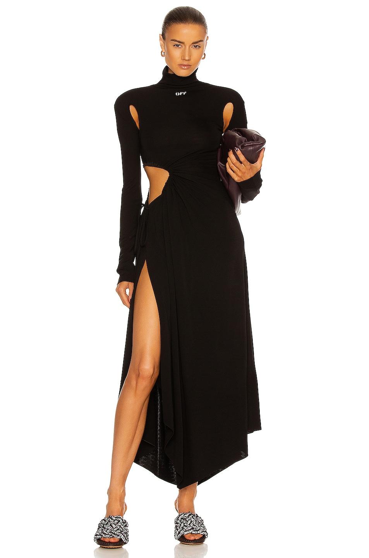 Image 1 of OFF-WHITE Plisse Panel Dress in Black