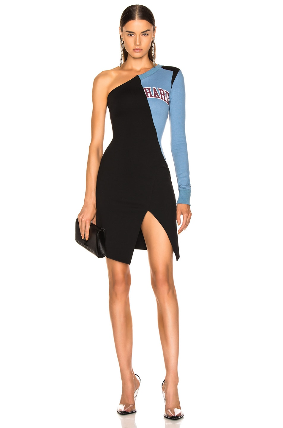 Image 1 of OFF-WHITE One Shoulder College Dress in Black & White