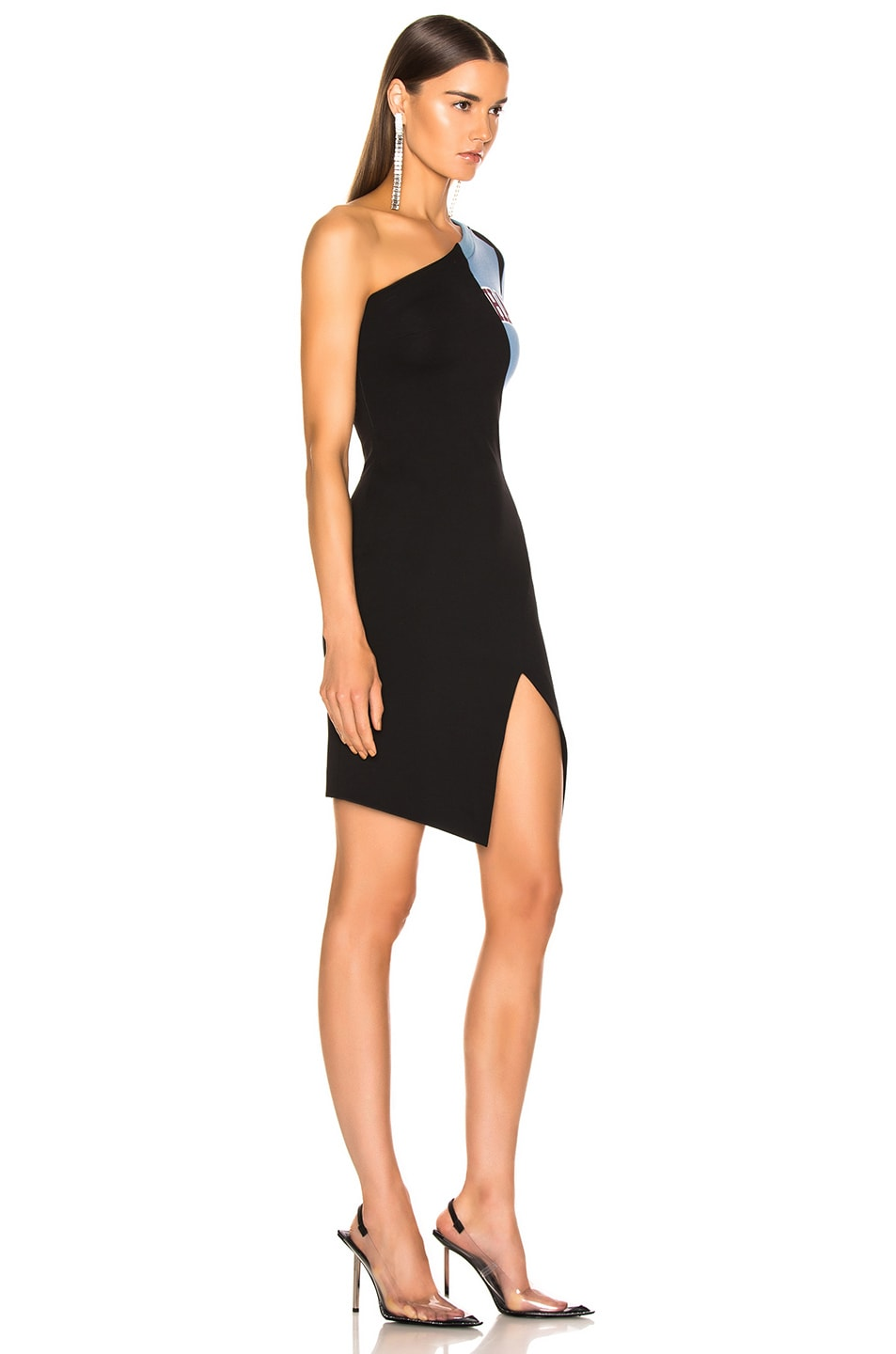Image 2 of OFF-WHITE One Shoulder College Dress in Black & White