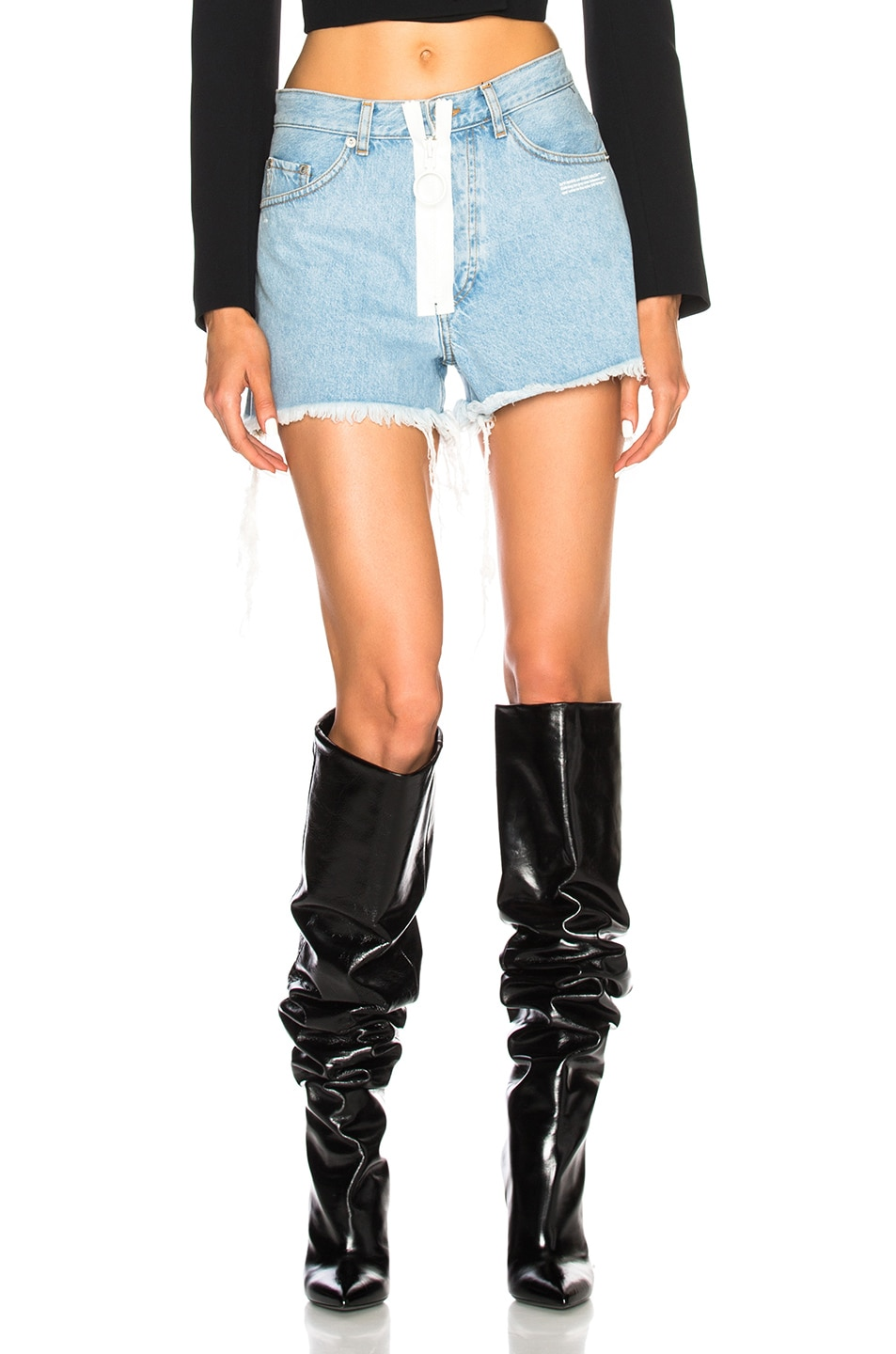 OFF-WHITE High Waisted Frayed Denim Shorts in Blue