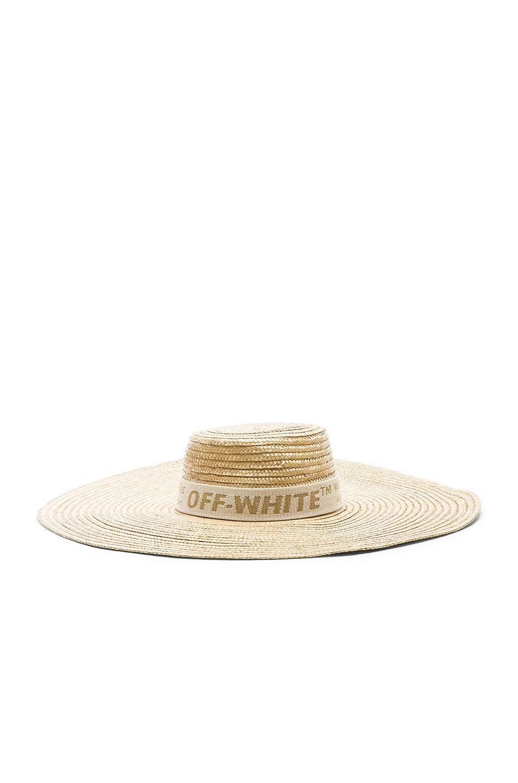 Image 1 of OFF-WHITE Straw Hat in Beige & Beige