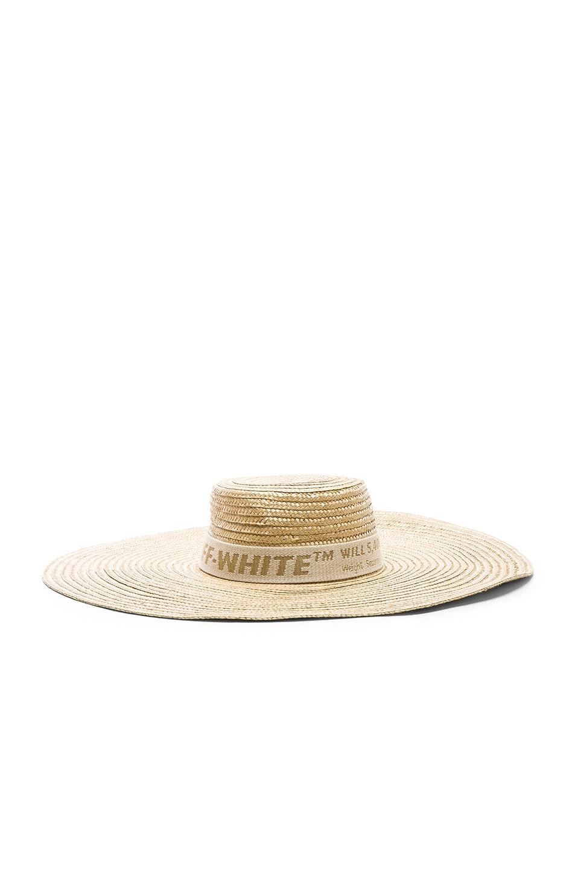 Image 2 of OFF-WHITE Straw Hat in Beige & Beige