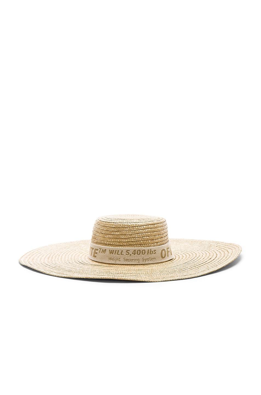 Image 4 of OFF-WHITE Straw Hat in Beige & Beige