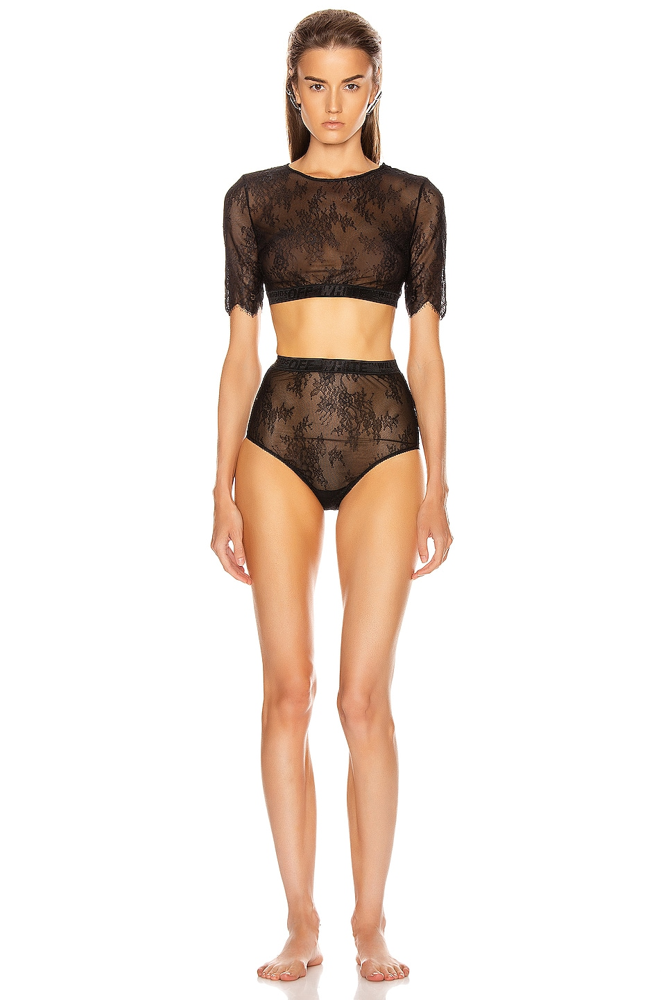 Image 2 of OFF-WHITE Lace Cropped Set in Black