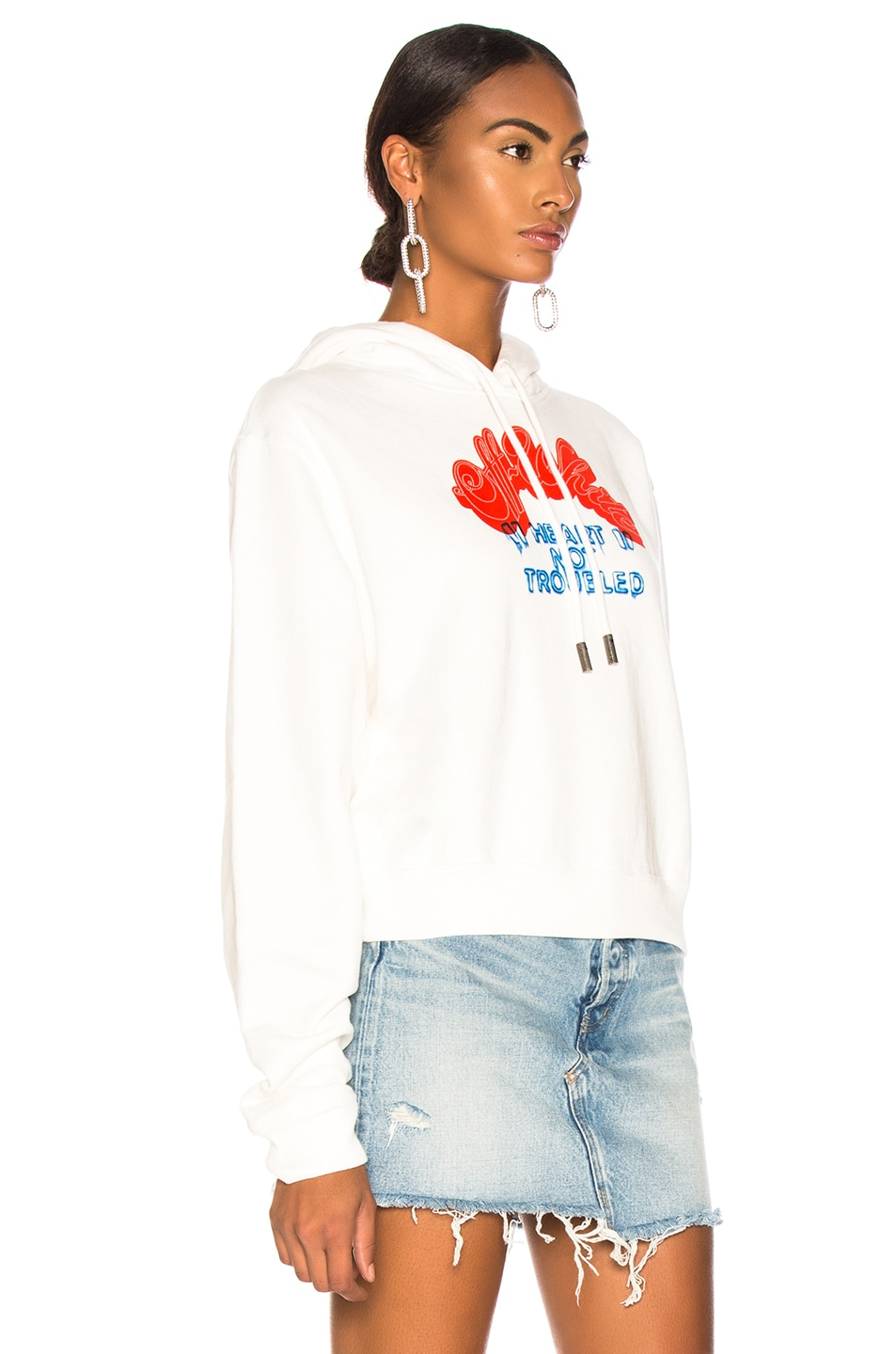 Image 3 of OFF-WHITE Heart Not Troubled Hoodie in White & Red