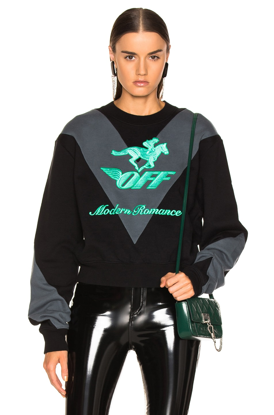 Image 1 of OFF-WHITE Jockey Crewneck Sweater in Black & Green