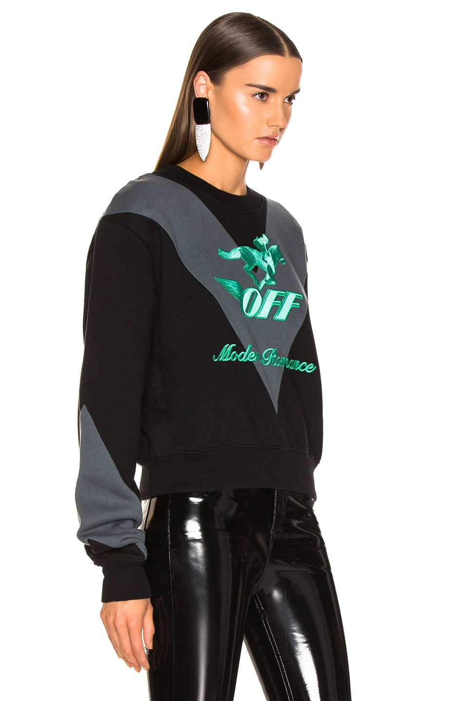 Image 2 of OFF-WHITE Jockey Crewneck Sweater in Black & Green