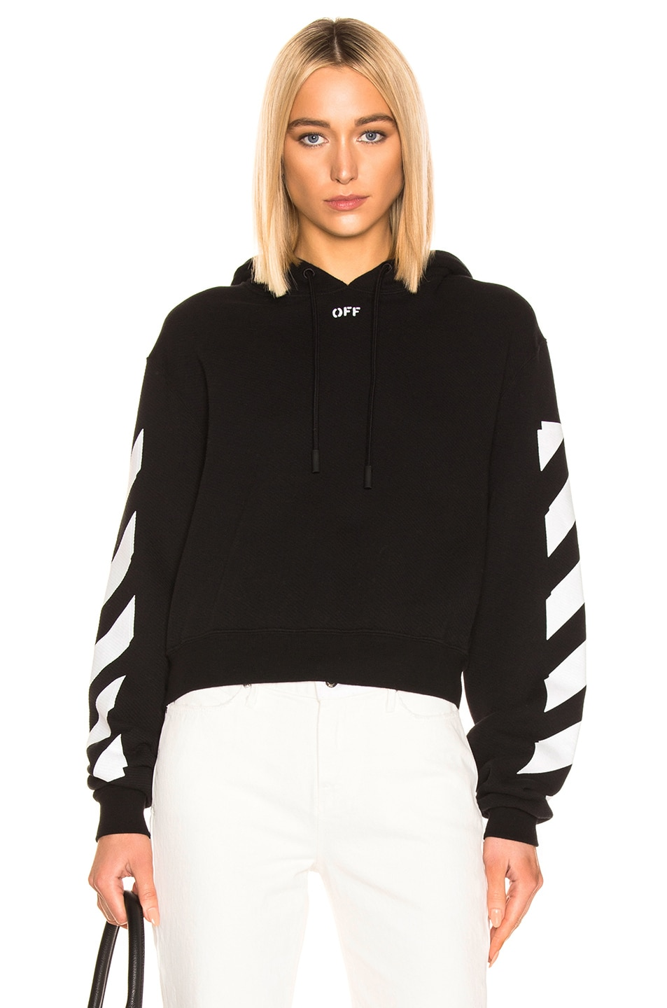 Image 1 of OFF-WHITE Diagonal Crop Hoodie in Black & White
