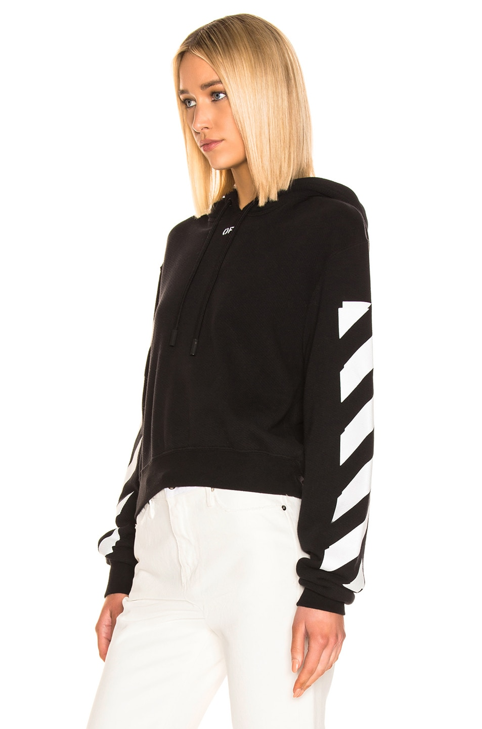 Image 3 of OFF-WHITE Diagonal Crop Hoodie in Black & White