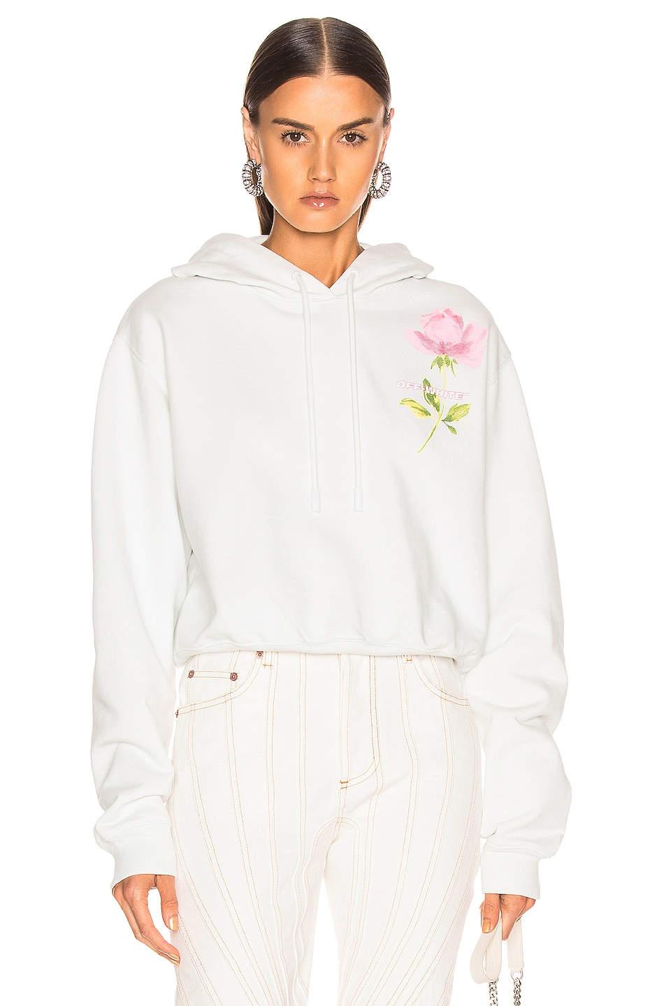 Image 1 of OFF-WHITE Flowers Woman Crop Hoodie in White Multi