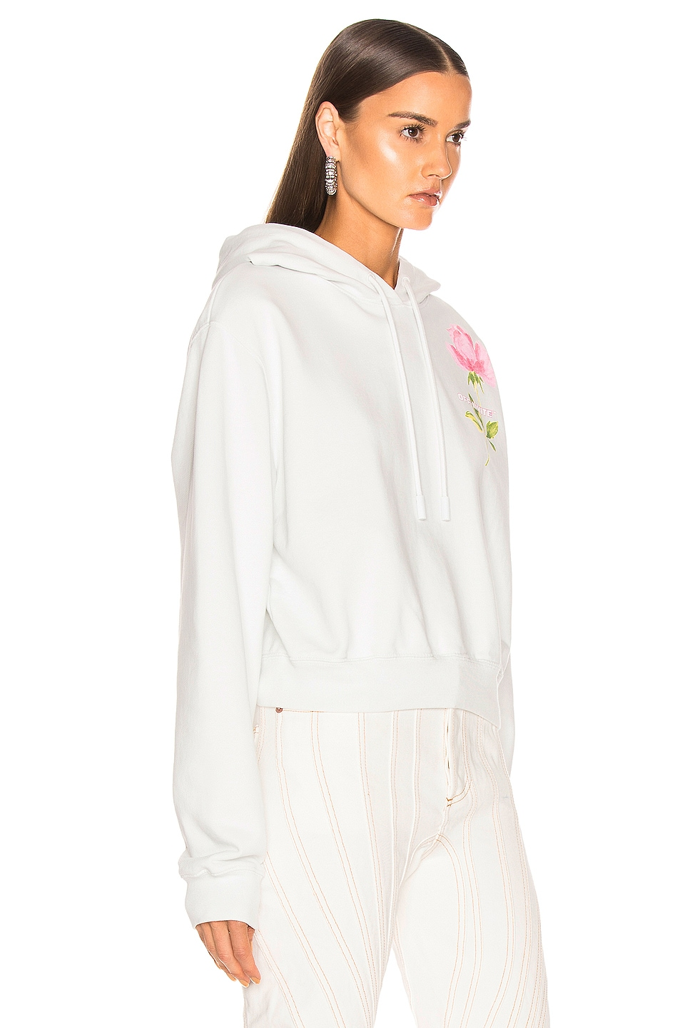 Image 2 of OFF-WHITE Flowers Woman Crop Hoodie in White Multi