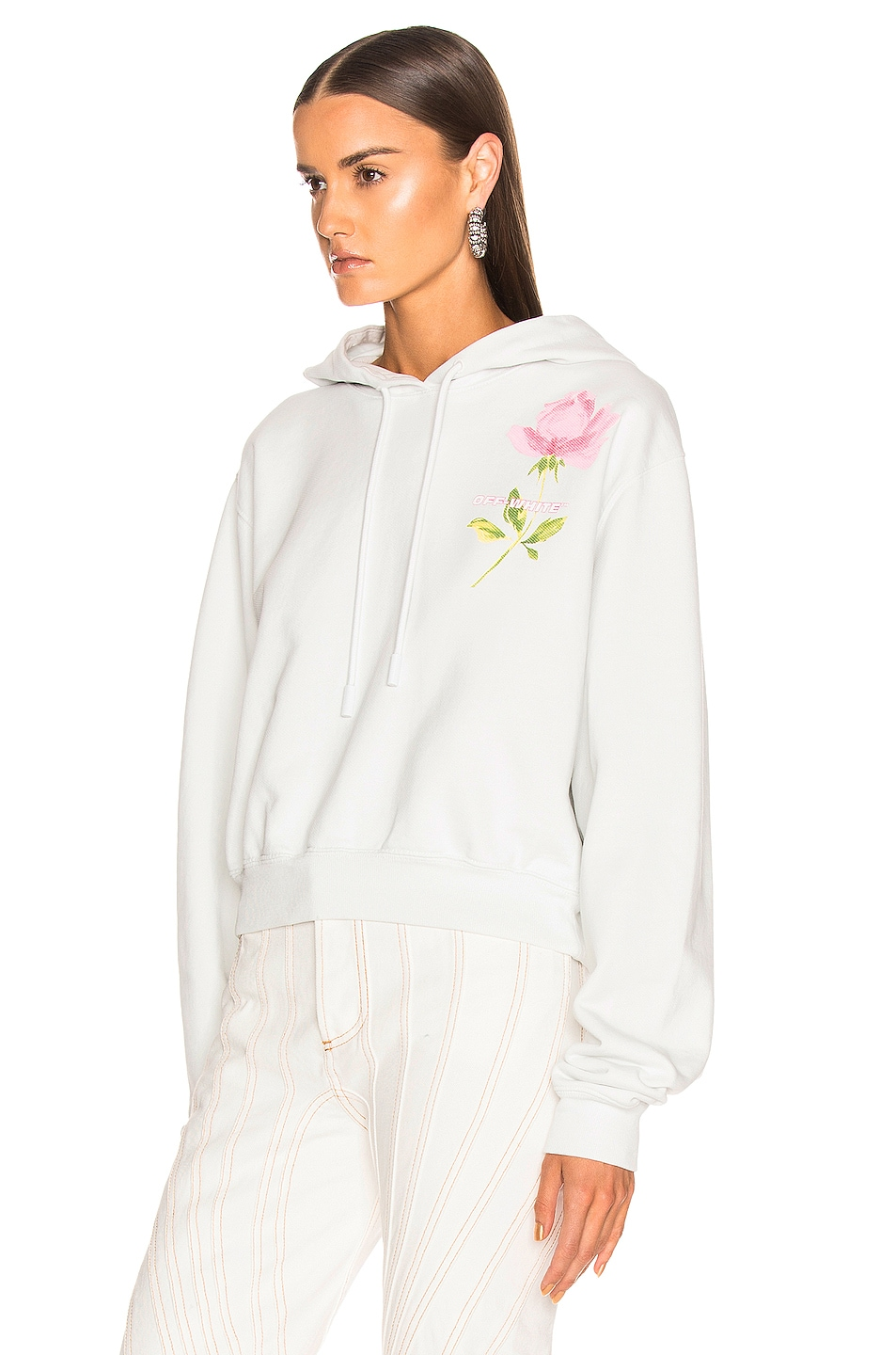 Image 3 of OFF-WHITE Flowers Woman Crop Hoodie in White Multi
