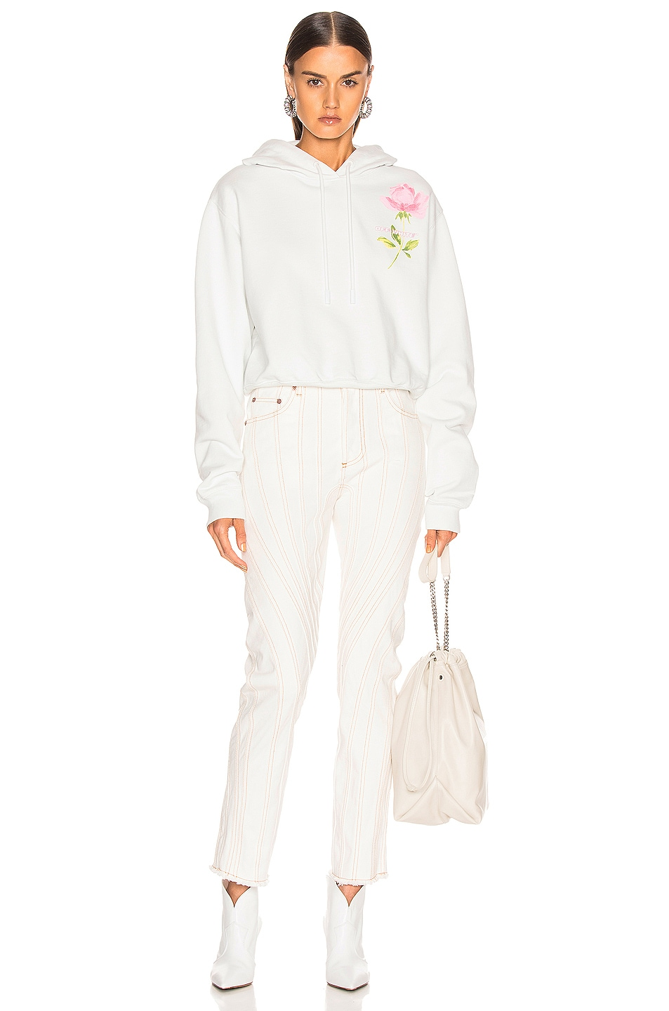 Image 5 of OFF-WHITE Flowers Woman Crop Hoodie in White Multi
