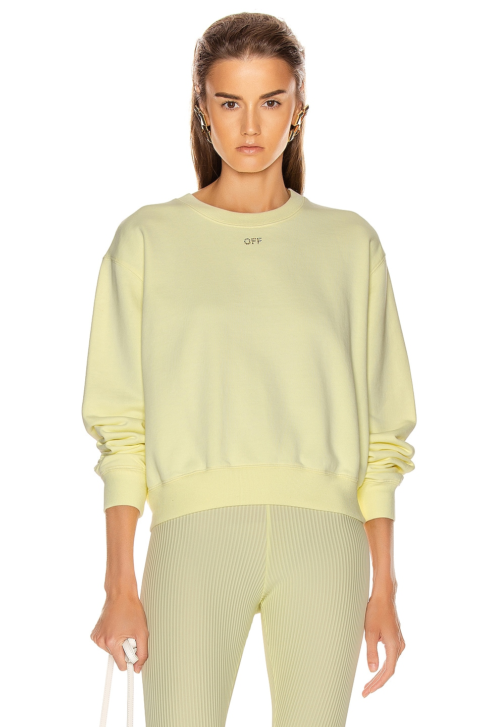 Image 2 of OFF-WHITE Shifted Crop Crewneck Sweatshirt in Yellow