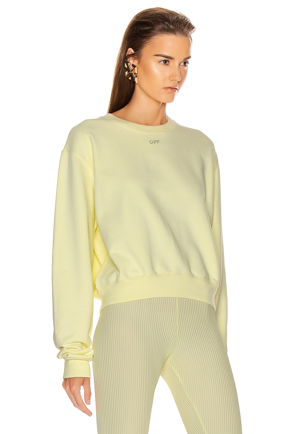 Image 3 of OFF-WHITE Shifted Crop Crewneck Sweatshirt in Yellow